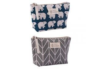 (Arrow + Polar Bear) - Canvas Large Makeup Bag Pouch Purse Coin Bag Cosmetic Organiser Multifunctional Handmade Cloth Bag for Women (21X13cm/ 8.27X5.12 Inch) (Arrow + Polar Bear)