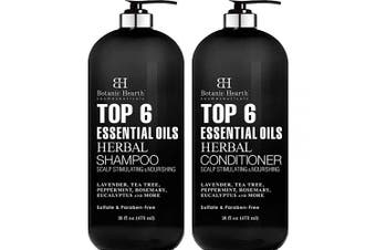 Top 6 Essential Oils Herbal Shampoo and Conditioner Set By Botanic Hearth - Sulphate & Paraben Free - Hair Growth Stimulating for Daily Use, Men and Women - 470ml x 2