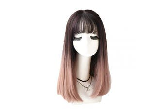 (46cm , Black gradient pink) - 7JHH WIG Short Bob Wigs with Bangs Hair Dye Synthetic Hair Natural Bob Wig for Women(Black Dyed Pink)