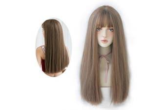 (60cm , Honey Tea Flax) - 7JHH WIG Hair Dye Wig for Women Synthetic Hair Natural Long Straight Wig With Bangs (60cm , Honey Tea Flax)
