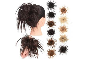 (Tousled updo Bun, 2/33#) - AQINBEL Tousled Updo Messy Bun Hair Piece Scrunchies Synthetic Wavy Bun Extensions Rubber Band Elastic Scrunchie Chignon Instant Ponytail Hairpiece for Women