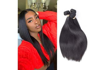 (10/2.2cm , Middle Part) - Allrun Hair Brazilian Straight Hair 3 Bundles (10 12 36cm ) Brazilian Virgin Hair Unprocessed Straight Human Hair Bundles Weave Hair Extensions Natural Black Colour