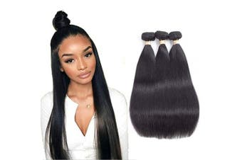 (14/2.3cm , Middle Part) - Allrun Hair Straight Human Hair 3 Bundles (14 16 46cm ) Brazilian Human Hair Unprocessed Straight Virgin Hair Natural Black Human Hair Extensions