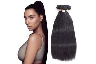 (12/2.2cm , Middle Part) - Allrun Hair Brazilian Hair 3 Bundles (12 14 41cm ) Unprocessed Straight Human Hair Natural Black Human Hair Bundles Weave Hair Extensions