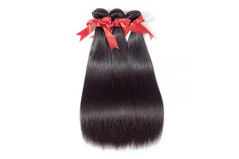 (12/14/16+25cm , Three Part) - Allrun Hair Bundles with Closure Three Part(12 14 16+10closure) Brazilian Straight Human Hair 3 Bundles with Three Part Lace Closure Human Hair Extensions Natural Black Colour