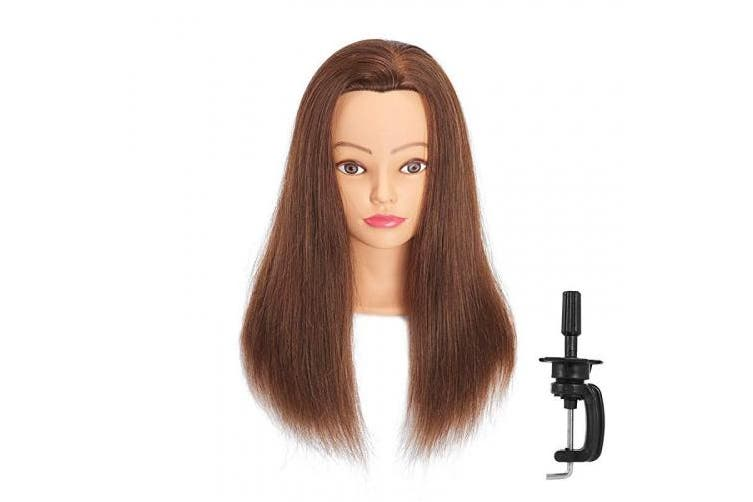 (18LB0414H) - Headfix 50cm - 60cm Hair Mannequin Head 100% Human Hair Hairdresser Practise Styling Training Head Cosmetology Manikin Doll Head With Clamp (6F1818LB0414H)