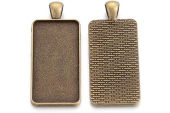 (Antique Bronze Rectangle) - Craftdady 20Pcs Antique Bronze Blank Bezel Tray Pendants 38x19mm Tibetan Rectangle Cabochon Setting Charms for Photo Jewellery Making Hole: 6x4mm