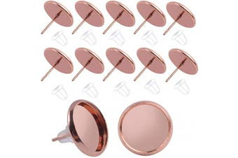 (10mm earring blanks, rose gold stud earrings and clear earring backs) - BronaGrand 50 Pieces Stainless Steel Stud Rose Gold Earring Cabochon Setting Post Cup for 10mm and 50 Pieces Clear Rubber Earring Safety Back