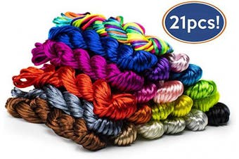 Bastex 2mm Nylon Satin Silk Cords with 21 Different Colours. Over 280 Yards. Rat Tail Cord Perfect for Jewellery Making, Necklace Beading, Macrame, Knotting, Bracelet Making, Dream Catchers and More