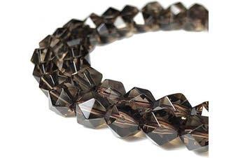 (Smoky Quartz (from Minas Gerais- Brazil)) - [ABCgems] Rare Brazilian Smoky Quartz (Exceptional Clarity- Prime Cut from Centre of Stone) 8mm Precision-Star-Cut Natural Semi-Precious Gemstone Energy Beads