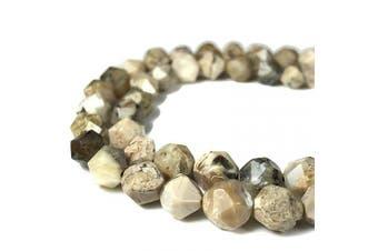 (Creamy White Opal (From Africa)) - [ABCgems] Rare African Creamy White Opal (Exquisite Matrix- Beautiful Colour) 8mm Precision-Star-Cut Natural Semi-Precious Gemstone Energy Beads