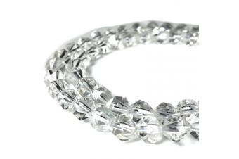 (Crystal Quartz (From Madagascar)) - [ABCgems] Madagascan Crystal Quartz AKA Rock Crystal (Exceptional Clarity- Prime Cut from Centre of Stone) 8mm Precision-Star-Cut Natural Semi-Precious Gemstone Energy Beads
