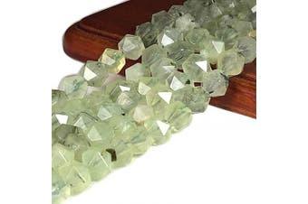 (Dark Moss Prehnite (From Australia)) - [ABCgems] Australian Dark Moss Prehnite AKA Green Rutilated Quartz (Exquisite Black Tourmaline Inclusions- Beautiful Translucent) 8mm Precision-Star-Cut Beads for Beading & Jewlery Making