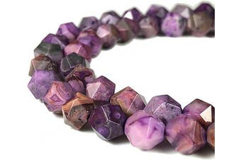 (Purple Crazy Lace Agate (From Mexico)) - [ABCgems] Mexican Purple Crazy Lace Agate (Exquisite Matrix- Beautiful Purple Colour) 8mm Precision-Star-Cut Natural Semi-Precious Gemstone Energy Beads