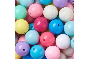 (20mm#100pcs) - Beadthoven 100pcs 20mm Round Bubblegum Chunky Acrylic Beads Mixed Colour Opaque Beads for Jewellery Making Kids Handmade Crafts Supplies Colourful