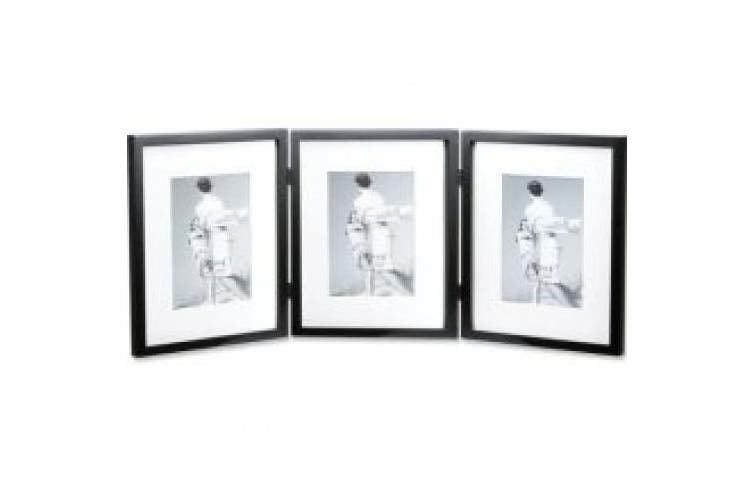(Black) - Lawrence Frames Simple Wood Black Matted Triple Picture Frame