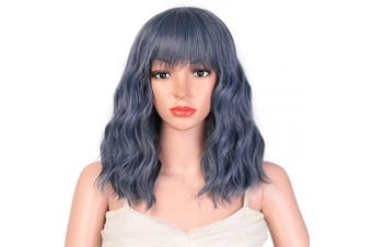 (Blue) - AISI HAIR Bob Curly Wig Synthetic Short Black Wig with Bangs Natural Looking Heat Resistant Hair (Blue)