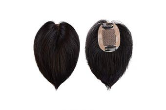 (15cm , 1B Natural Black) - BARSDAR 15cm Human Hair Toppers for Women Silk Base Clip in Top Hairpiece Replacement Straight Toupee (1B Natural Black)