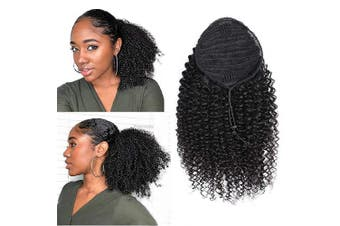 (46cm , Curly, Wrap Drawstring) - ALISFEEL Ponytail Human Hair Extensions Comb Clip in Pony Tail for Women Thick Soft One Piece Hairpiece (46cm , Curly, Wrap Drawstring)