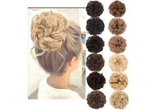 (Sandy Coffee Mixed Bleach Blonde) - AQINBEL Messy Bun Hair Piece 2PCS/Package Hair Scrunchies Extensions Curly Wavy Messy Synthetic Chignon Updo for Women Ladies Girls Hairpiece