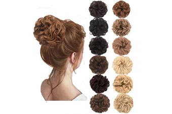 (Light Brown) - AQINBEL Messy Bun Hair Piece 2PCS/Package Hair Scrunchies Extensions Curly Wavy Messy Synthetic Chignon Updo for Women Ladies Girls Hairpiece