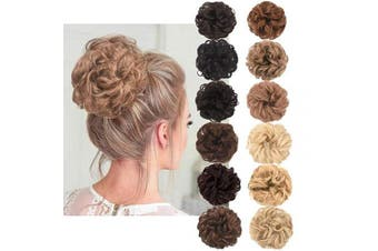 (Light Golden Brown Mixed Pale Golden Blonde) - AQINBEL Messy Bun Hair Piece 2PCS/Package Hair Scrunchies Extensions Curly Wavy Messy Synthetic Chignon Updo for Women Ladies Girls Hairpiece
