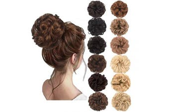 (Medium Chestnut Brown) - AQINBEL Messy Bun Hair Piece 2PCS/Package Hair Scrunchies Extensions Curly Wavy Messy Synthetic Chignon Updo for Women Ladies Girls Hairpiece