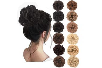 (Natural Black) - AQINBEL Messy Bun Hair Piece 2PCS/Package Hair Scrunchies Extensions Curly Wavy Messy Synthetic Chignon Updo for Women Ladies Girls Hairpiece