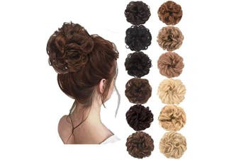 (Black Brown Mixed Light Auburn) - AQINBEL Messy Bun Hair Piece 2PCS/Package Hair Scrunchies Extensions Curly Wavy Messy Synthetic Chignon Updo for Women Ladies Girls Hairpiece
