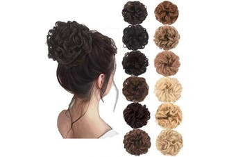 (Black Brown) - AQINBEL Messy Bun Hair Piece 2PCS/Package Hair Scrunchies Extensions Curly Wavy Messy Synthetic Chignon Updo for Women Ladies Girls Hairpiece