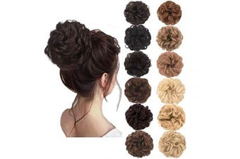 (Black Brown Mixed Dark Auburn) - AQINBEL Messy Bun Hair Piece 2PCS/Package Hair Scrunchies Extensions Curly Wavy Messy Synthetic Chignon Updo for Women Ladies Girls Hairpiece