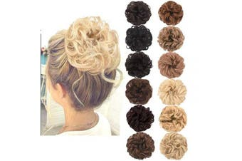 (Ash Blonde Mixed Bleach Blonde) - AQINBEL Messy Bun Hair Piece 2PCS/Package Hair Scrunchies Extensions Curly Wavy Messy Synthetic Chignon Updo for Women Ladies Girls Hairpiece