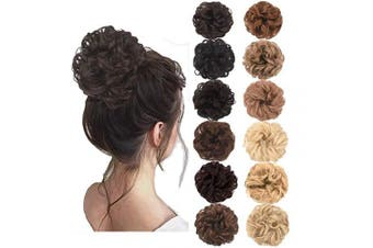 (Dark Brown) - AQINBEL Messy Bun Hair Piece 2PCS/Package Hair Scrunchies Extensions Curly Wavy Messy Synthetic Chignon Updo for Women Ladies Girls Hairpiece