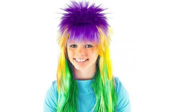 (MG Wig-SMT) - Cosweet Mardi Gras Tri-Colour Wig- Purple Green Yellow Punk Wig for Women Girls Mardi Gras Carnival Party Cosplay Accessory