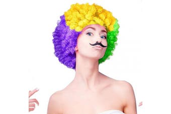 (MG Wig-Boom) - Cosweet Mardi Gras Tri-Colour Wig- Purple Green Yellow Short Curly Wig for Women Girls Mardi Gras Carnival Party Cosplay Accessory