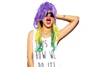 (MG Wig-Long Curvy) - Cosweet Mardi Gras Tri-Colour Wig- Purple Green Yellow Long Wavy Wig for Women Girls Mardi Gras Carnival Party Cosplay Accessory