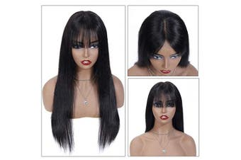(46cm ) - 46cm Black Wig with Bangs Long Straight Human Hair Wig 4x 4 Lace Closure Wig Brazilian Virgin Hair Wig for Women Average Size 1B