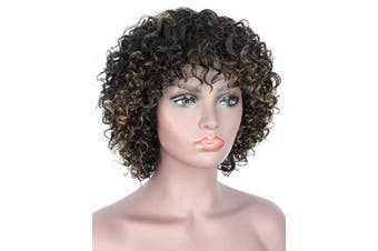 (Black Brown Highlights) - Beauart Short Black Brown Highlights Deep Small Curly 100% Brazilian Remy Human Hair Wigs for Black Women Natural Curls Wig with Hair Bangs
