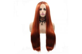 (Straight, Copper Red #360) - BESTUNG Long Copper Red Straight Lace Front Wigs For Halloween Party Middle Part Synthetic Hair Wig for Women 60cm (Straight, Copper Red #360)