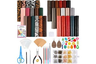 Caydo 32 Pieces Leather Earring Making Kits with 7 Styles Faux Leather Sheets, Tools, Instructions, Display Cards for Jewellery Earrings Making DIY Craft (16cm x 21cm )