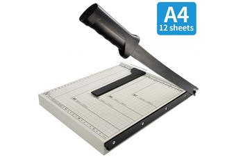 (A4) - Paper Cutter 30cm Guillotine Paper Trimmer A4, Photo Craft Machine with Heavy Duty Gridded Base 30cm Cut Length and 12 Sheet Capacity for Home Office