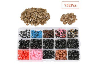 752Pcs 5-12mm Colourful Plastic Safety Eyes and Noses - 282pcs Safety Eye and 94pcs Safety Nose with 280pcs Washer for Doll, Puppet, Plush Animal and Teddy Bear Craft Making