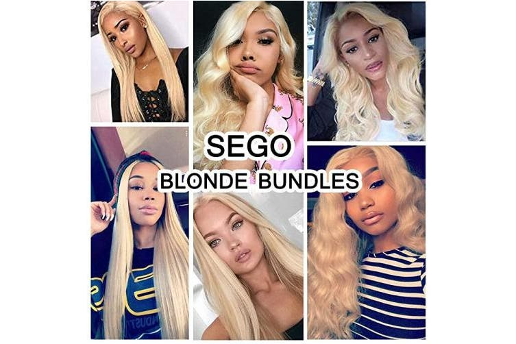 SEGO 60 Virgin Hair Bundles 7A Sew in Blonde Bundle 100% Unprocessed Brazilian Human Hair Weft Weave Extensions Thick Silky Straight One Bundle for Women 60cm Platinum Blonde