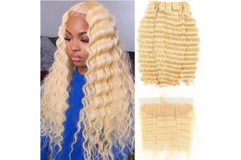 (121212+25cm , deep) - ALOT 613 Bundles with Frontal Blonde Deep Wave Human Hair 3 Bundles and Lace Frontal Malaysian Honey Blonde Hair Transparent Colour Lace with Baby Hair Can Be Dyed (121212+25cm , deep)