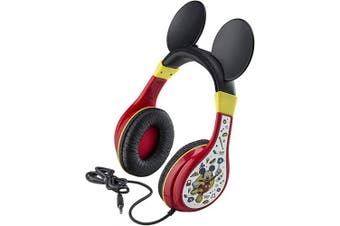 eKids Mickey Mouse Kids Headphones for Kids Adjustable Stereo Tangle-Free 3.5Mm Jack Wired Cord Over Ear Headset for Children Parental Volume Control Kid Friendly Safe Perfect for School Home Travel
