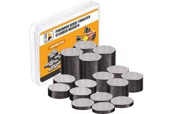 Pinewood Derby Weights Tungsten Weights 110ml 1cm Incremental Cylinders Car Incremental Weights 16 Pieces, 4 Sizes