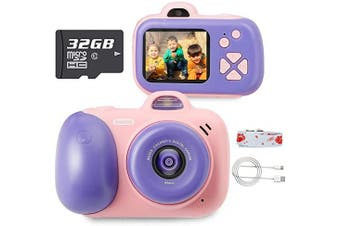 (Pink (32g Sdcard)) - beiens Digital Video Camera for Kids, 24MP Selfie Dual Cameras, 32G SD Card, 1080P 5.1cm HD IPS Screen, USB Charge, Best Birthday Gifts Kids Camera Toys for Girls and Boys (Pink)