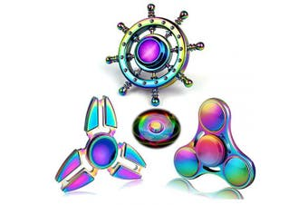 Party Favours Rainwbow Spinner Gadget Metal Fidget Hand Spinner Focus Metal Fidget Spiral Twister Fingertip Gyro Stress Relief ADD ADHD EDC Anxiety Spinning Top Toy Gift for Kids Adults (3PCS)