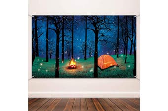 Blulu Forest Scene Camping Backdrop Supplies Camping Photography Background Photo Shoot Backdrop Party Decoration for Camping Theme Party Birthday Party Baby Shower