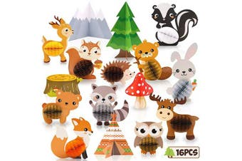 16PCS Woodland Animals Honeycomb Centrepieces Forest Friends 3D Table Toppers for Woodland Baby Shower Birthday Decorations Wild One Camping Party Supplies